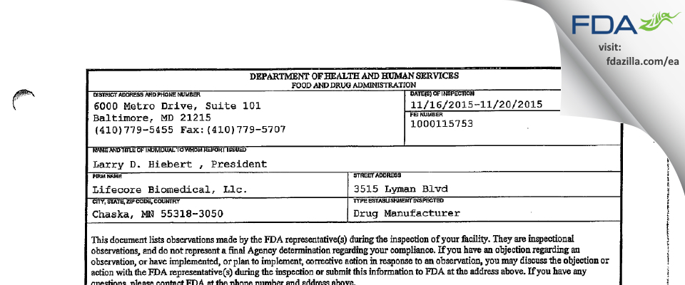 Lifecore Biomedical FDA inspection 483 Nov 2015