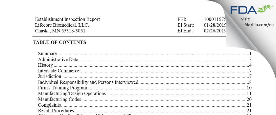 Lifecore Biomedical. FDA inspection 483 Feb 2019