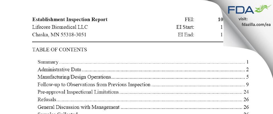 Lifecore Biomedical. FDA inspection 483 Nov 2019