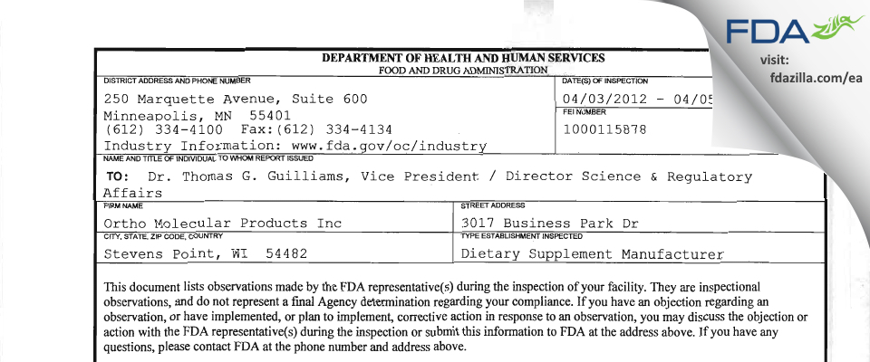 Provident Nutraceutical div. of Ortho Molecular Products FDA inspection 483 Apr 2012