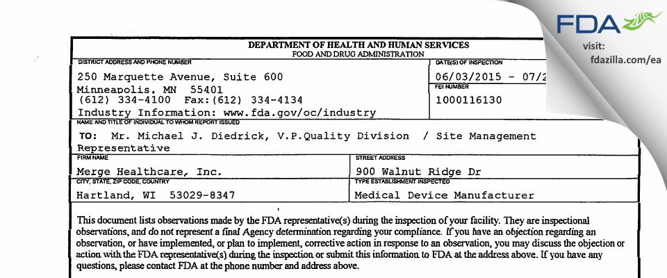 Merge Healthcare FDA inspection 483 Jul 2015