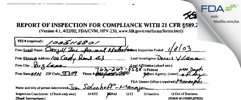 Cargill FDA inspection 483 Jan 2003