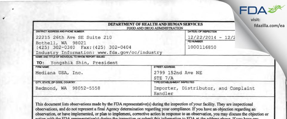 Mediana USA FDA inspection 483 Dec 2014