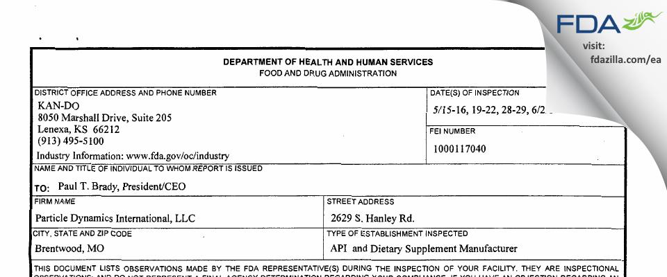 Particle Dynamics International FDA inspection 483 Jun 2014