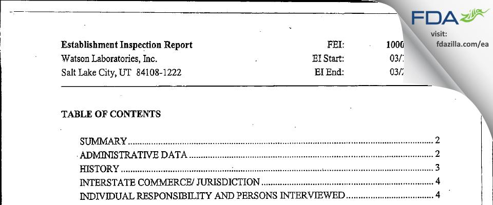 Actavis Labs UT FDA inspection 483 Mar 2008