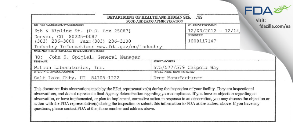 Actavis Labs UT FDA inspection 483 Dec 2012