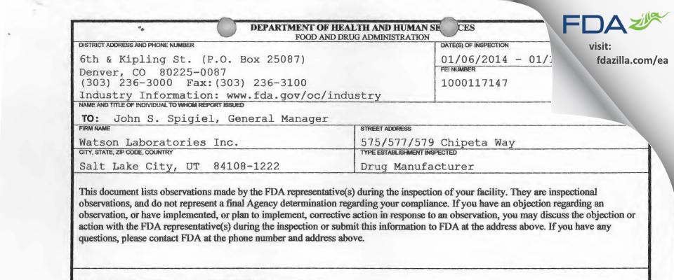 Actavis Labs UT FDA inspection 483 Jan 2014