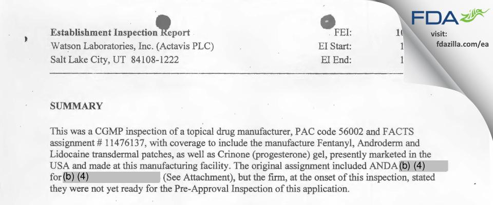 Actavis Labs UT FDA inspection 483 Oct 2014
