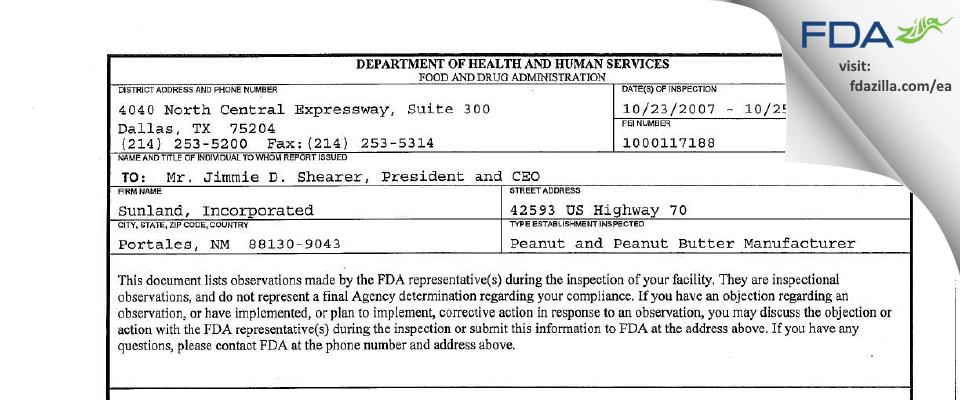 Golden Boy Foods, Ldt. FDA inspection 483 Oct 2007