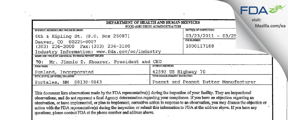 Golden Boy Foods, Ldt. FDA inspection 483 Mar 2011