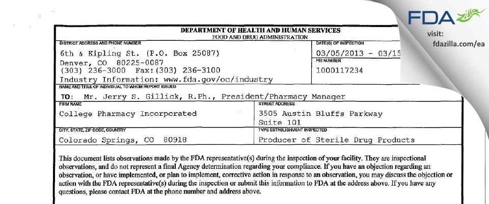 College Pharmacy FDA inspection 483 Mar 2013