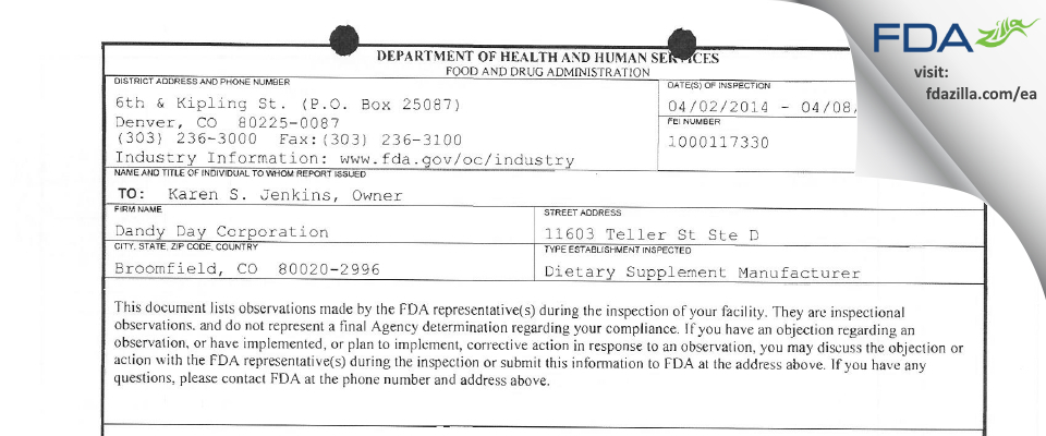 Dandy Day FDA inspection 483 Apr 2014