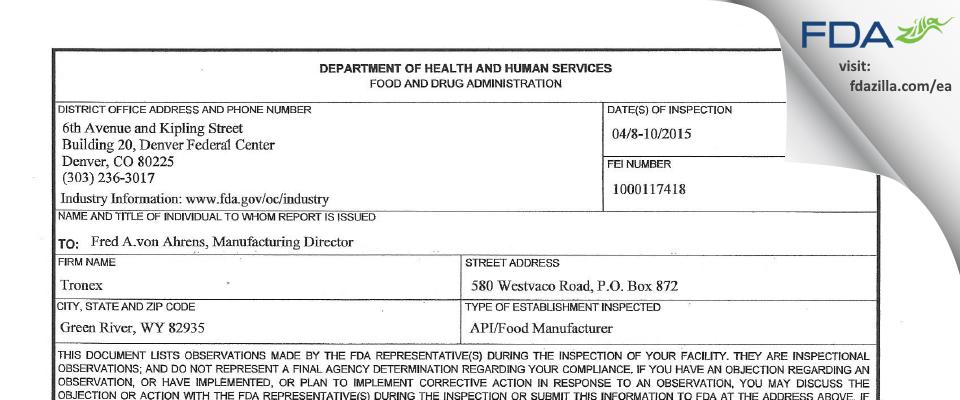 Genesis Alkali FDA inspection 483 Apr 2015