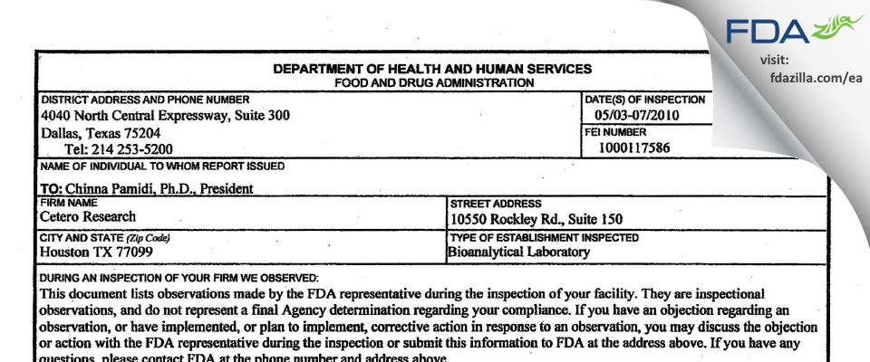 Cetero Research FDA inspection 483 May 2010