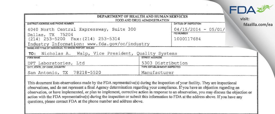 DPT Labs FDA inspection 483 Apr 2014