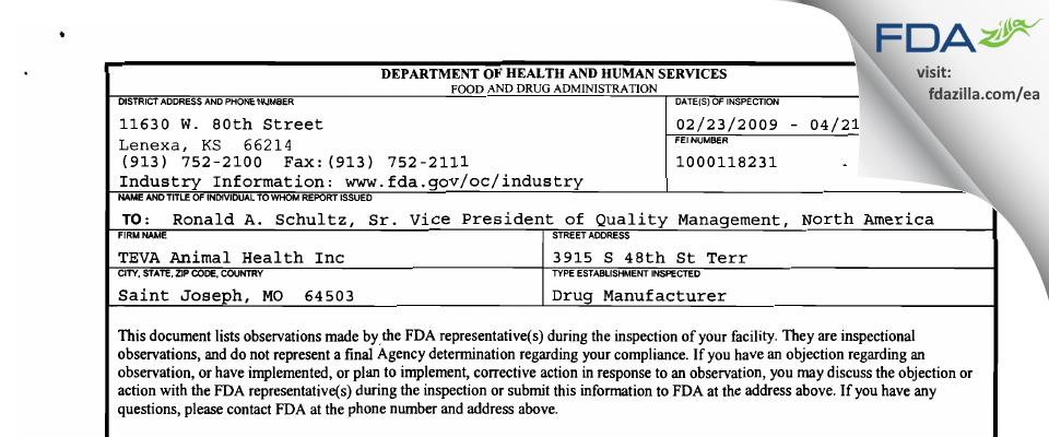 Bayer Healthcare Animal Health FDA inspection 483 Apr 2009