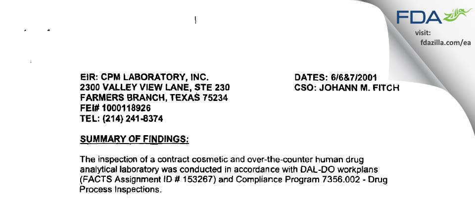 Ceutical Labs FDA inspection 483 Jun 2001