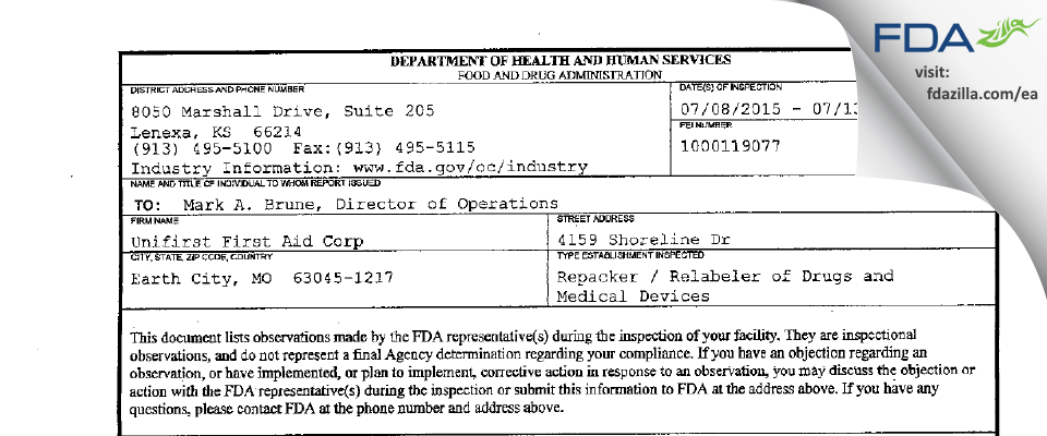 Unifirst First Aid FDA inspection 483 Jul 2015