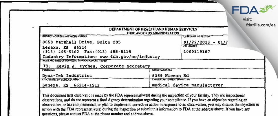 Dyna-Tek Industries FDA inspection 483 Jan 2013