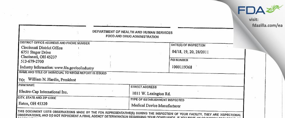 Electro Cap International FDA inspection 483 Apr 2011