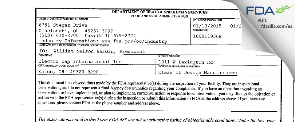 Electro Cap International FDA inspection 483 Jan 2015