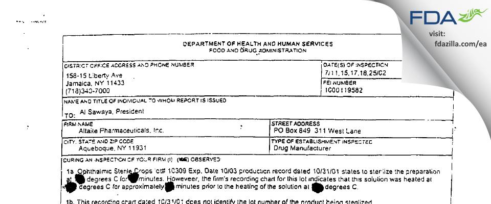 Altaire Pharmaceuticals FDA inspection 483 Jul 2002