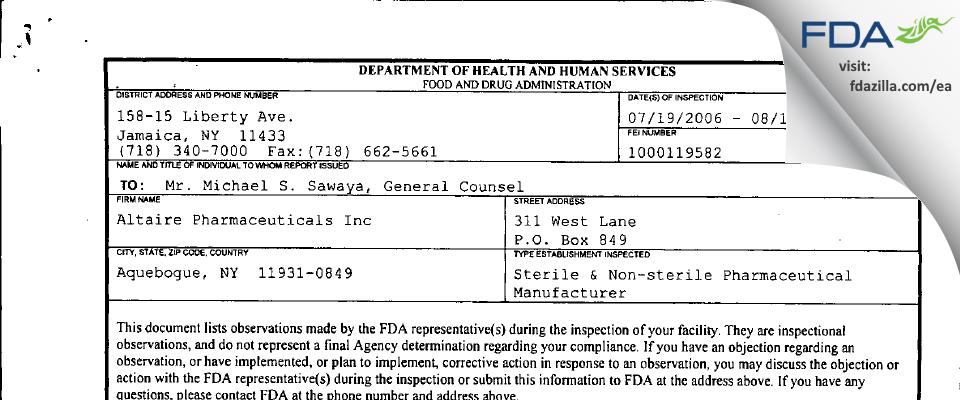 Altaire Pharmaceuticals FDA inspection 483 Aug 2006