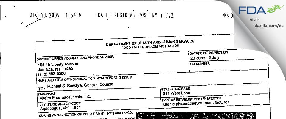 Altaire Pharmaceuticals FDA inspection 483 Jul 2008