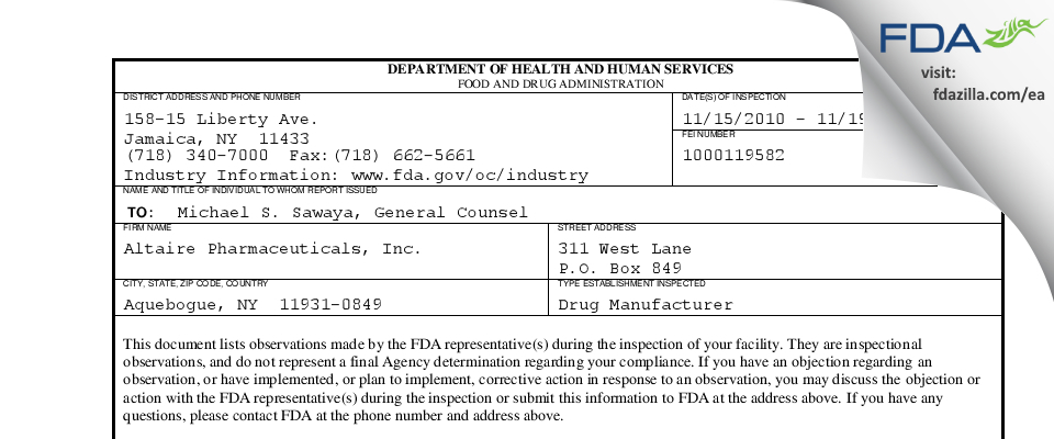 Altaire Pharmaceuticals FDA inspection 483 Nov 2010
