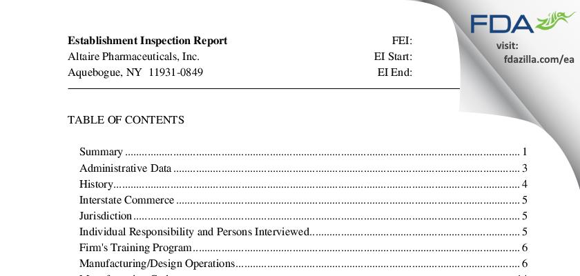 Altaire Pharmaceuticals FDA inspection 483 Nov 2010