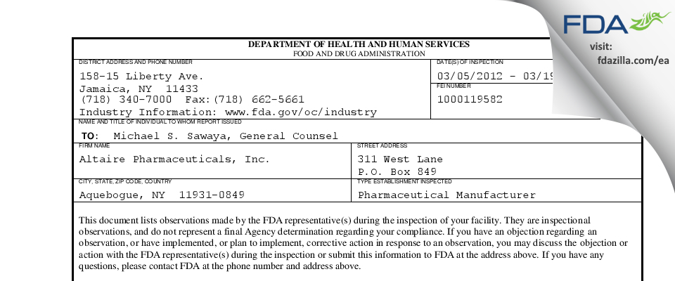 Altaire Pharmaceuticals FDA inspection 483 Mar 2012
