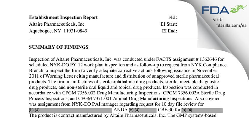 Altaire Pharmaceuticals FDA inspection 483 Mar 2012