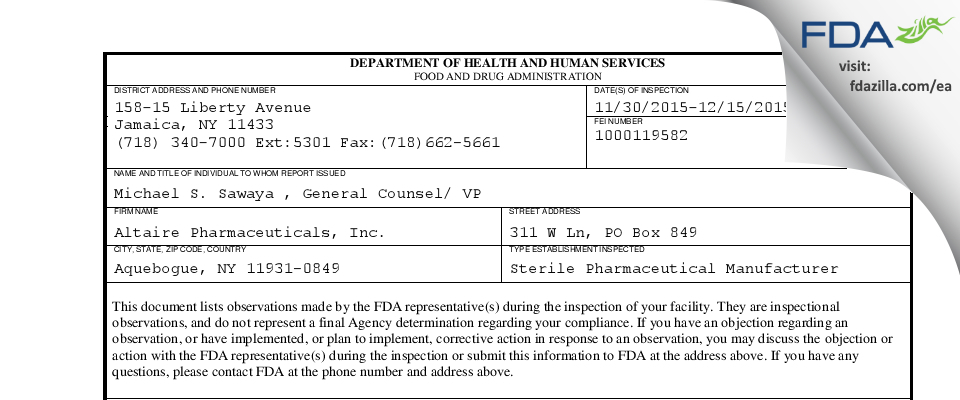 Altaire Pharmaceuticals FDA inspection 483 Dec 2015