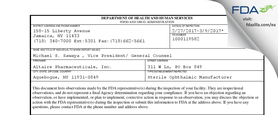 Altaire Pharmaceuticals FDA inspection 483 Mar 2017