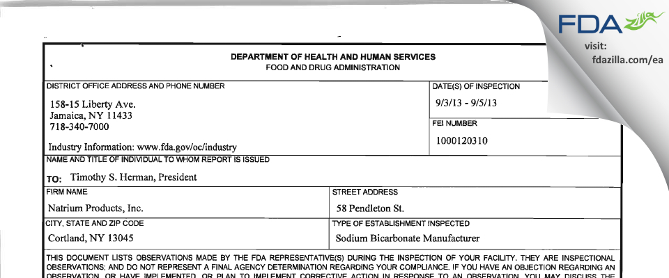Natrium Products FDA inspection 483 Sep 2013