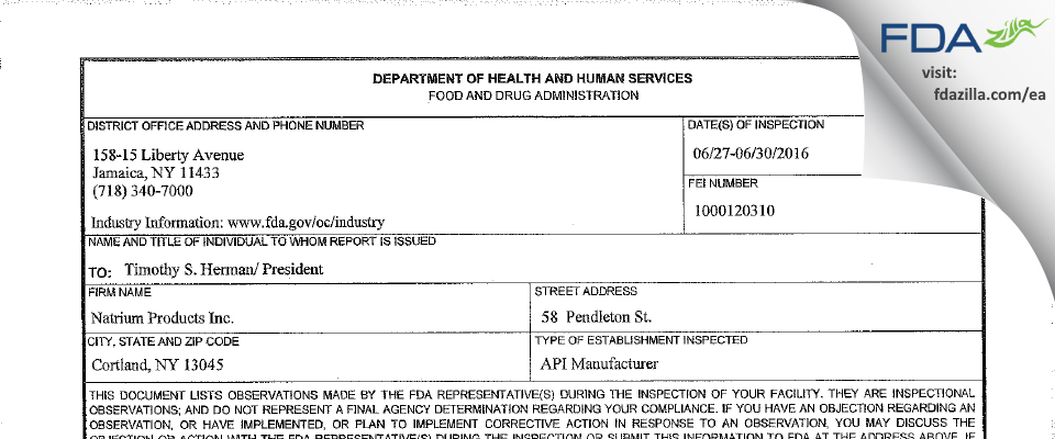 Natrium Products FDA inspection 483 Jun 2016