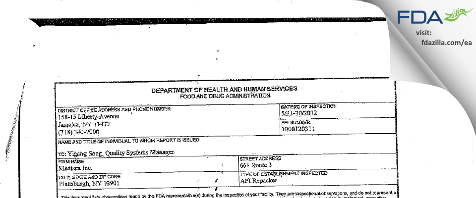 Medisca FDA inspection 483 May 2012