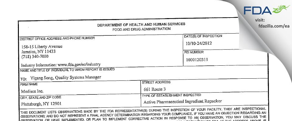 Medisca FDA inspection 483 Oct 2012