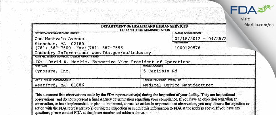 Cynosure FDA inspection 483 Apr 2012