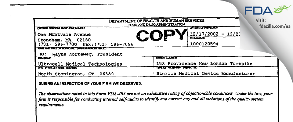 Ultracell Medical Technologies FDA inspection 483 Dec 2002