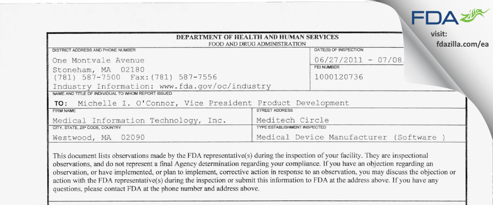 Medical Information Technology FDA inspection 483 Jul 2011