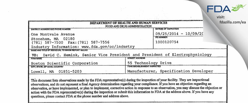 Boston Scientific FDA inspection 483 Oct 2014
