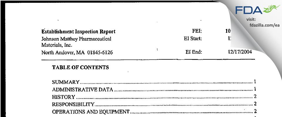 Johnson Matthey Pharmaceutical Materials FDA inspection 483 Dec 2004