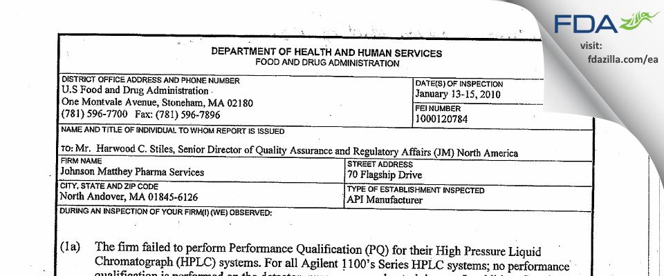 Johnson Matthey Pharmaceutical Materials FDA inspection 483 Jan 2010