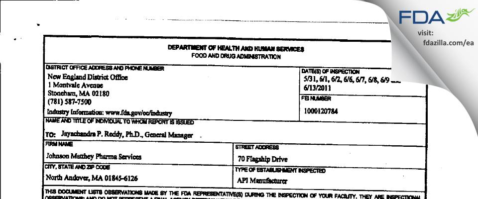 Johnson Matthey Pharmaceutical Materials FDA inspection 483 Jun 2011
