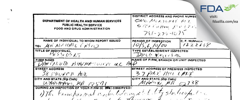 Dartmouth Pharmaceuticals FDA inspection 483 Oct 2000