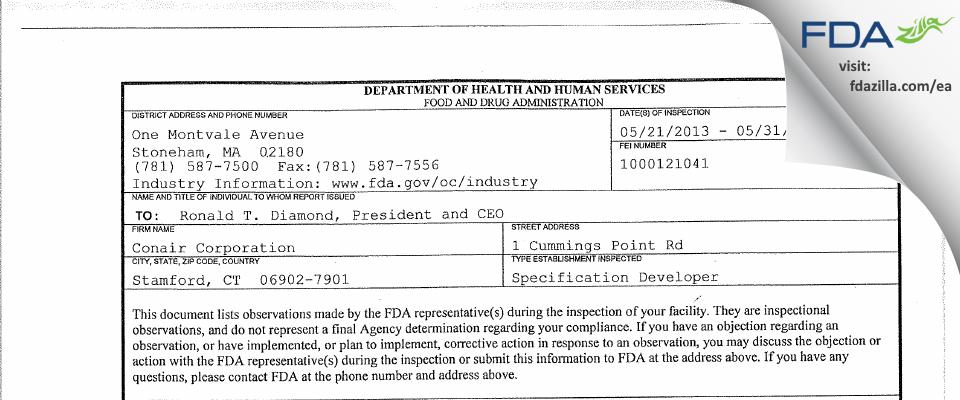 Conair FDA inspection 483 May 2013