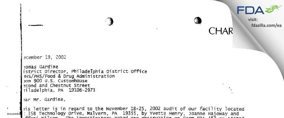 Charles River Labs FDA inspection 483 Nov 2002