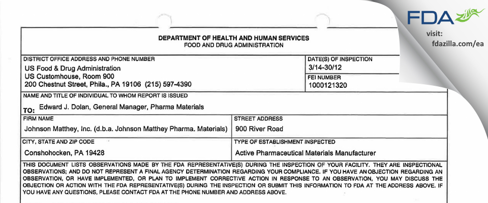 Johnson Matthey (dba Johnson Matthey Pharm. Materials) FDA inspection 483 Mar 2012