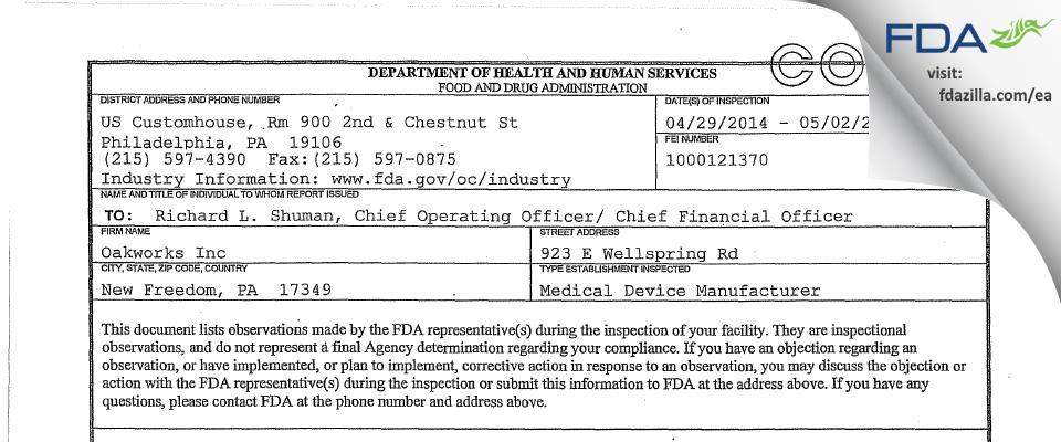 Oakworks FDA inspection 483 May 2014